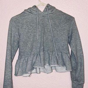 Pretty little thing grey ruffled hoodie